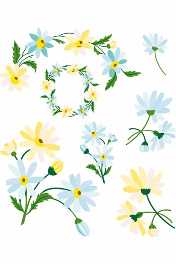 Sajou downloadable embroidery motifs A4 daisies colour suggestions