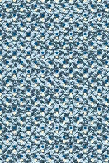 Swatch coated Sajou cotton fabric Plaisirs de la campagne blue coordinate 2