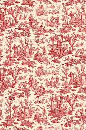 Swatch coated Sajou cotton fabric Offrande à l'Amour red miniature motif