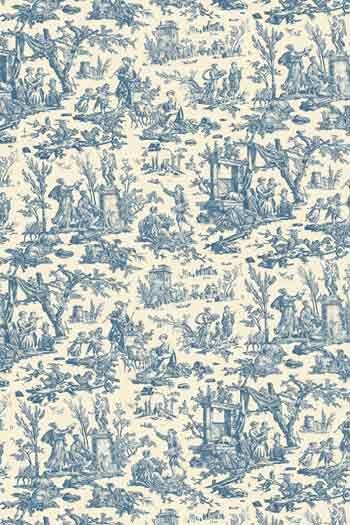 Swatch coated Sajou cotton fabric Offrande à l'Amour blue miniature motif