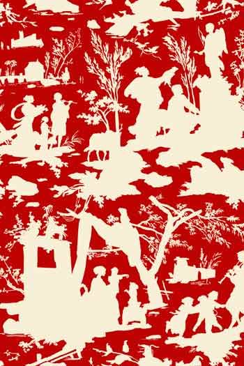 Sajou Offrande à l'Amour shadow play toile de Jouy fabric swatch ecru on red base