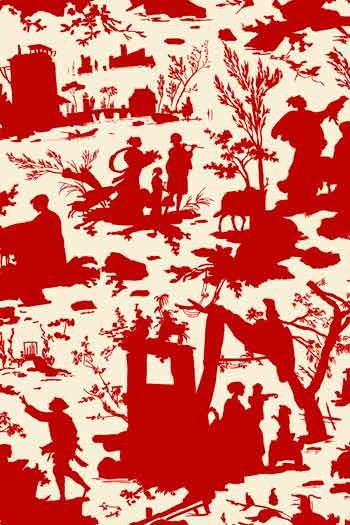 Sajou fabric Jouy Offrande à l'Amour shadow play red on ecru base 100% cotton 150cm wide
