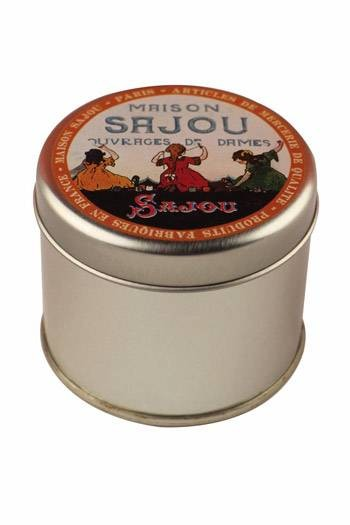 Round tin Sajou embroidery girls closed