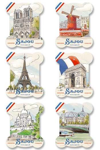 Six Sajou thread cards Seine model views of Paris