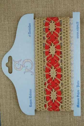 15 mm natural / red linen lace card - Model 29