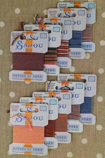 10 cards Retors du Nord embroidery thread mixed coloured