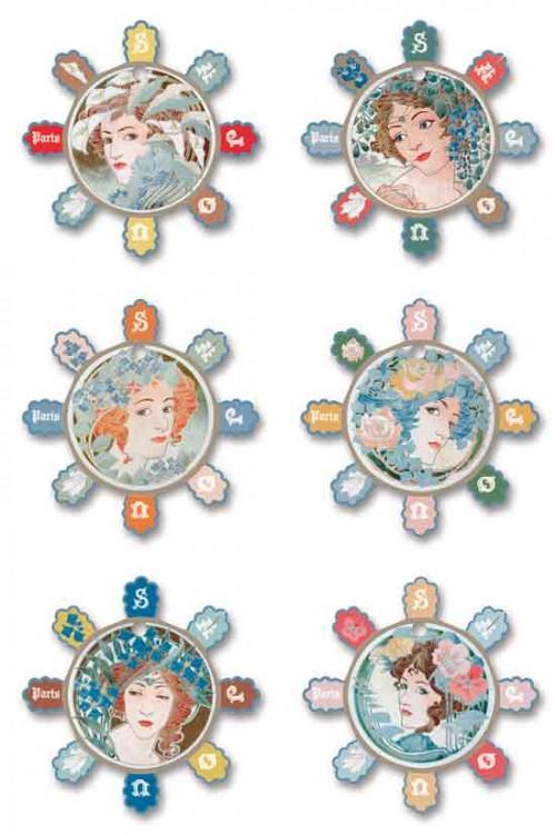 Six cartes à fil Sajou modèle Barfleur - Femmes Art Nouveau