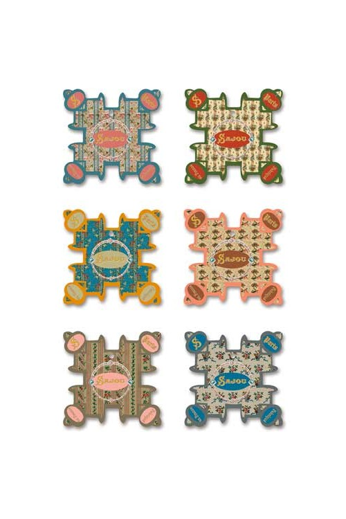 Six Sajou thread cards Cabourg model Floral motifs