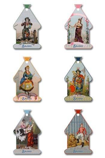 Six Sajou thread cards Domfront Model Vintage thread labels