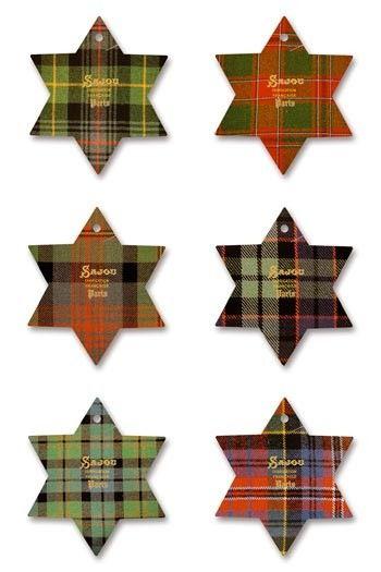 Six Sajou thread cards Fécamp - Tartan motifs
