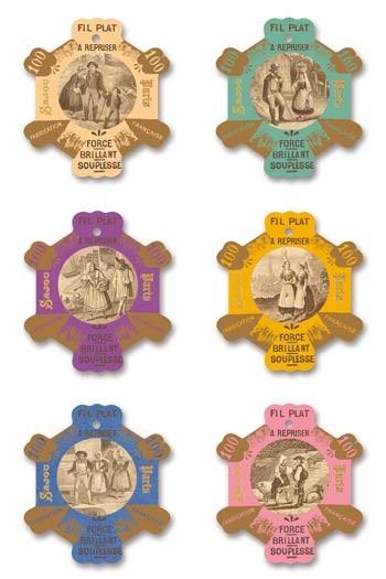 Six Sajou thread cards Flers Vintage engravings