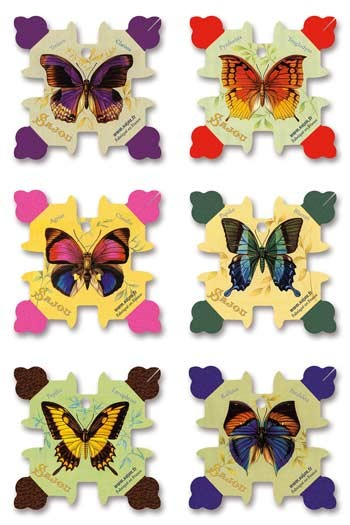 Six Sajou thread cards Honfleur model - Butterflies