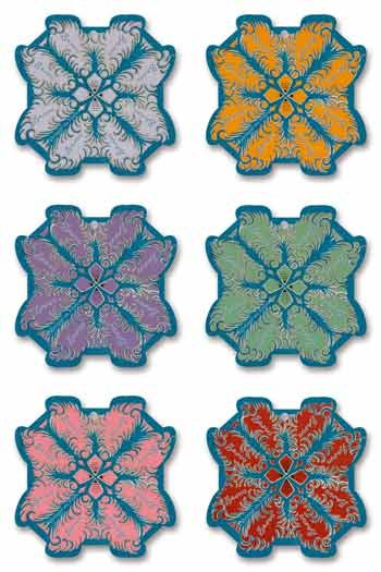 Six Sajou thread cards Lisieux model feather motifs