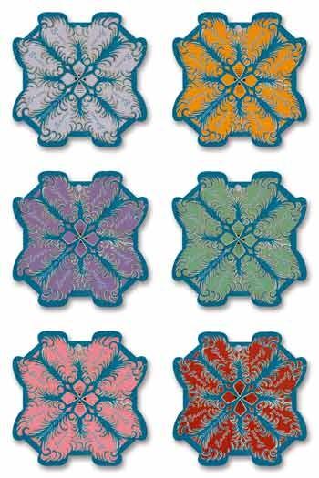 Six Sajou thread cards Lisieux model feather motifs