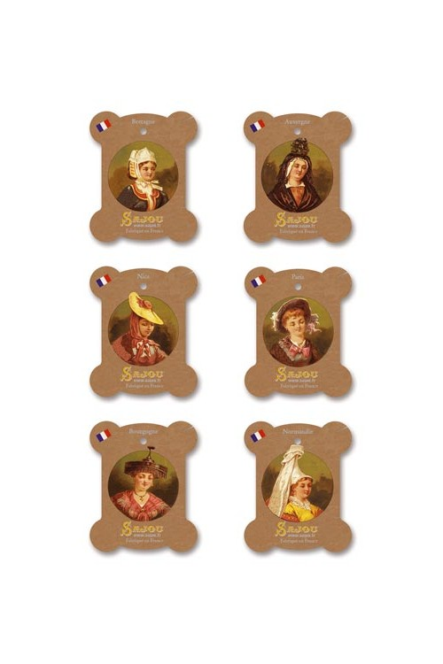 Six Sajou thread cards Vernon model French costumes