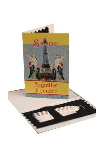 20 sewing needles - sizes 3, 5, 7 & 9 - Sajou Eiffel Tower booklet