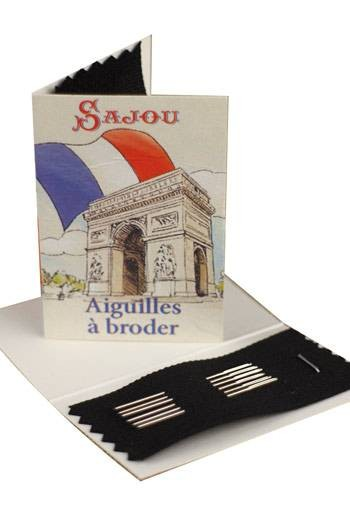 Six embroidery needles sizes 22, 24 & 26 - Sajou Arc de Triomphe booklet
