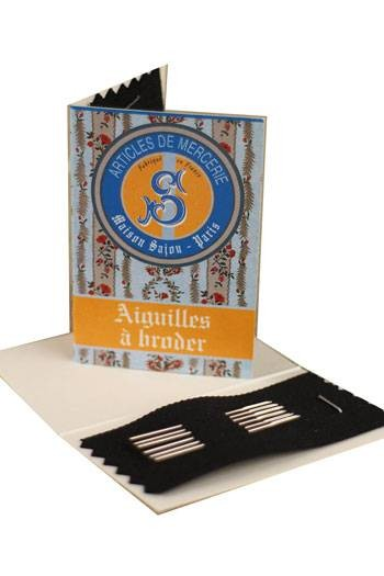 6 embroidery needles blue booklet
