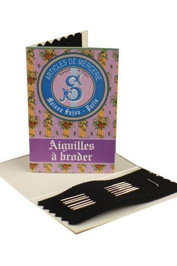 6 embroidery needles mauve booklet