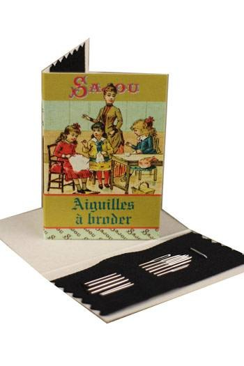 Six embroidery needles sizes 22, 24 & 26 - Sajou Sewing lesson booklet