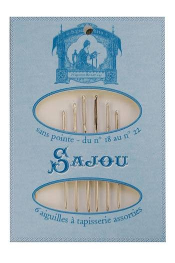6 tapestry needles - size 18 to 22 - Sajou blue booklet