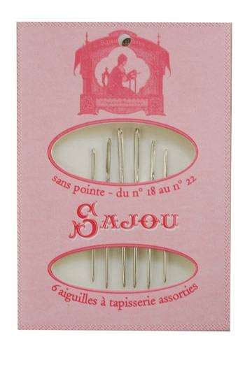 6 tapestry needles - size 18 to 22 - Sajou pink booklet
