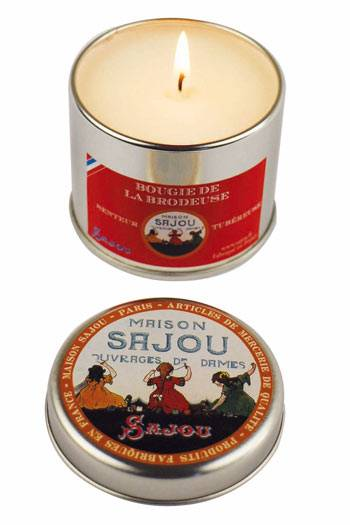 Sajou Embroiderer's tuberose scented candle round tin open