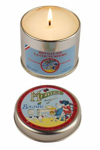 Sajou Dressmaker's fig scented candle round tin open