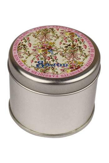 Boîte métal ronde Sajou imprimée du motif Chambre de la Reine au château de Versailles