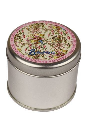 Sajou round tin printed with the Queen's Bedchamber Versailles motif