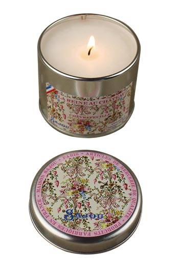 Sajou Queen at the Palace candle honeysuckle fragrance round tin open