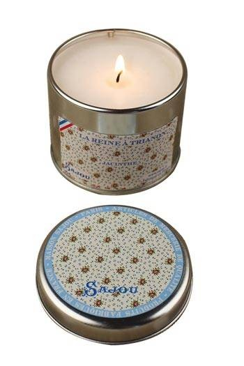 Sajou Queen at Trianon candle hyacinth fragrance round tin open