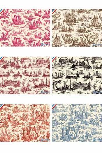 Six Sajou postcards toiles de Jouy clothes collection