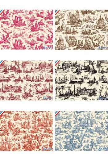 Serie mit sechs Sajou-Postkarten Kollektion Toile-de-Jouy-Stoffe