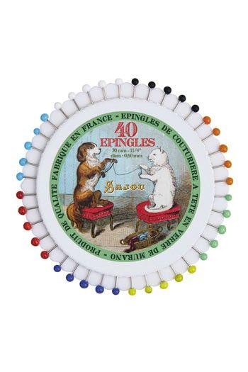 Disque de 40 épingles tête de verre - Sajou Chien et Chat filant