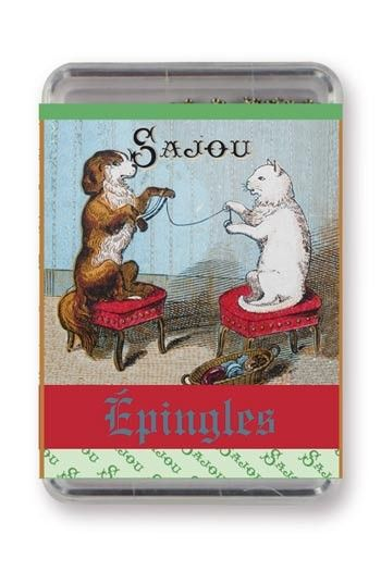 Sajou Dressmakers' steel extra fine n°4 pins cat and dog winding wool