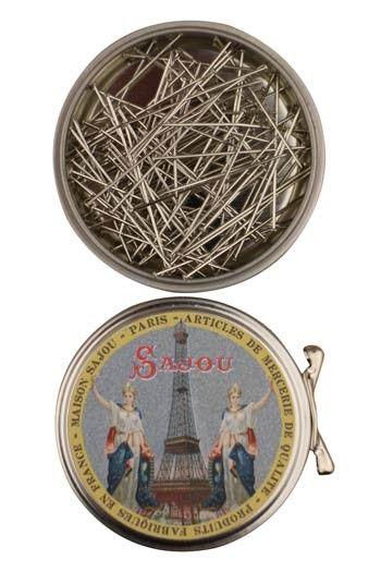 Sajou Eiffel Tower round box with dressmakers' steel fine n°5 pins