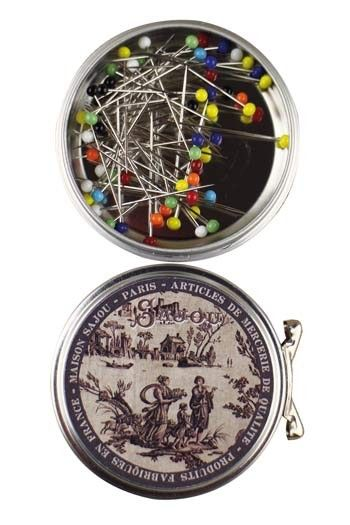 Sajou brown Jouy round metal tin with dressmakers' steel glass headed pins