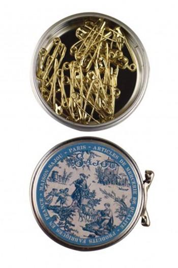 Épingles de sûreté miniatures dorées n° 0 - Boîte métal Sajou motif Jouy bleu