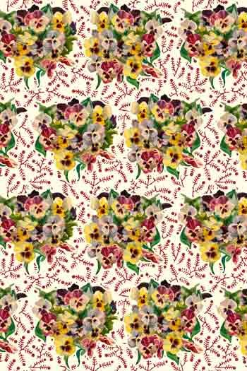 Swatch coated cotton fabric Bouquets of Pansies main motif