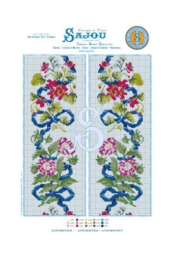 Cross stitch pattern chart reedition flower motif Anemones