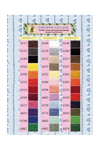 Printed colour chart Calais Cocoon lace thread