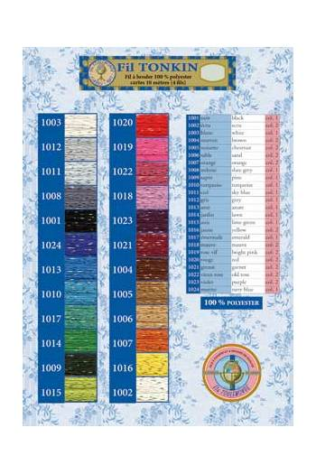 Printed colour chart Tonkin embroidery floss