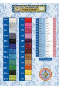 Tonkin embroidery floss  24 printed colour chart