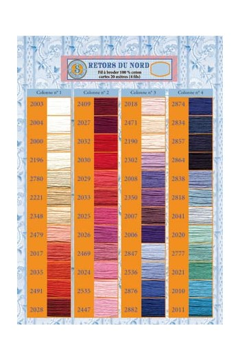 Printed colour chart Retors du Nord embroidery thread