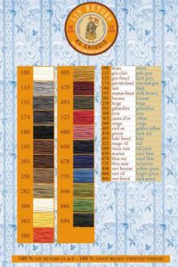 Retors Linen thread printed colour chart