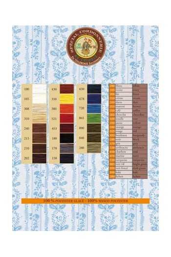 Cordonnet/Cordonnerie thread printed colour chart