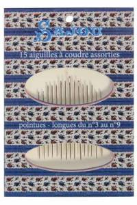 15 assorted sewing needles window booklet