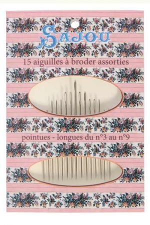 15 embroidery needles - size 3 to 9 - window booklet