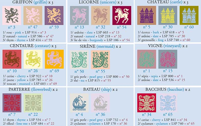 Motifs to embroider for the Sajou Chambord plaid:griffin, unicorn, castle, centaure, mermaid, vineyard, flowerbed, ship and Bacchus.